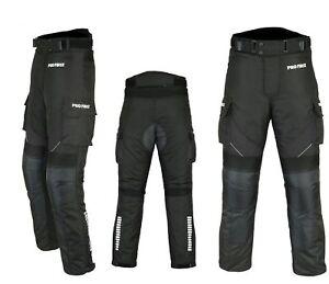 Motorradhose-wasserdichte-Textilhose-SCHWARZ-Protektoren-Taschen-Gr-XS-6XL