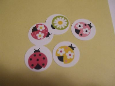 Pre Cut One Inch Bottle Cap Images CUTE LADYBUGS LADY BUGS Free Shipping