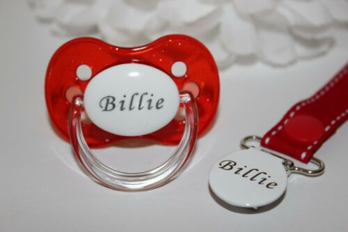 PERSONALISED DUMMY *CHERRY TEAT* DUMMY AND DUMMY CLIP *CAN BE STERILISED* RED