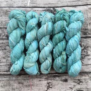Details about 2 SKEINS DARN GOOD YARN 50yd/100g Sari Silk Yarn Ribbon SEA  FOAM GREEN-BLUE