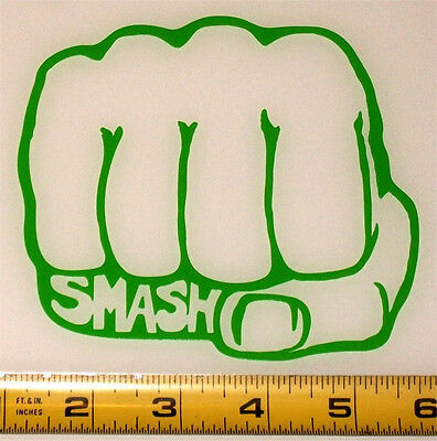 Marvel - Hulk Fist - Smash - HQ Single Color High Gloss Green Vinyl Decal!