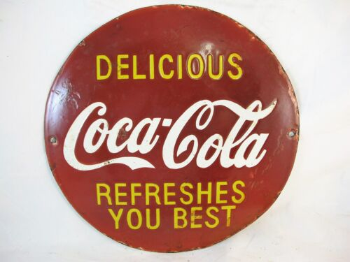 SMALL ROUND COCA COLA ENAMEL SIGN C1950'S PORCELAIN SIGN