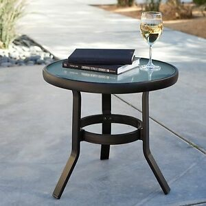 Details About 20 Metal Round Captured Gl Top Patio Side Table Outdoor Home Furniture Deck