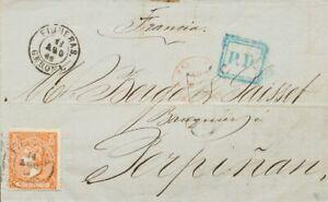 Spanien Cataluña. Geschichte Postal. Umschlag 82. 1866. 12 Viertel Naranja.