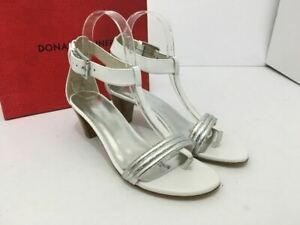 Donald-J-Pliner-Viva-Women-039-s-T-Strap-Heels-Sandals-Silver-White-Leather-US-8-M
