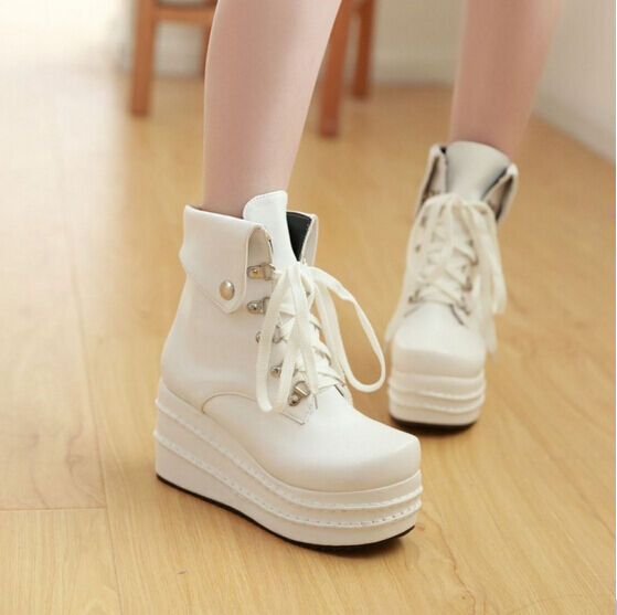 Womens Punk Lace Up Creeper shoes Ankle Boots shoes Round Toes Platform Pumps