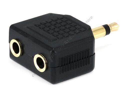 """MONO 3.5mm,1//8/"""" Male~2*Female Y//Split//Splitter Audio//Headphone cord Adapter{GOLD"""
