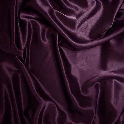 "25 Yards 60"" Plum Charmeuse Shiny Satin Fabric Wedding Draping Runner Tablecloth"