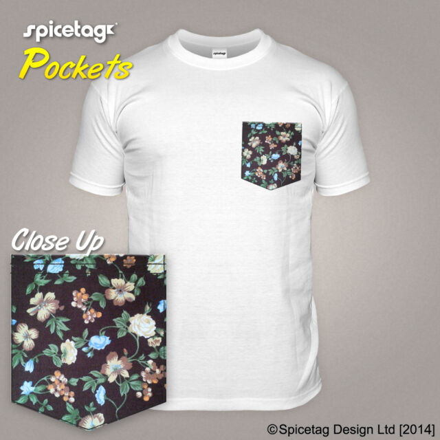 Floral T-shirt With a Pattern Pocket Tshirt Brown Blue Flower Print Contrast Top