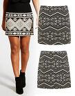 NEUF Jacquard aztèque mini jupe femmes taille Ligne-A taille de jupe 8 10 12