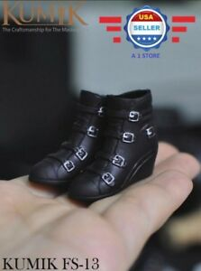 1//6 BLACK Ankle Boots Shoes w// zipper HOLLOW 12/'/' Female Figure Doll Accessory