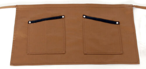 Short Brown Waist Apron with leather details 35x60cm MARK738