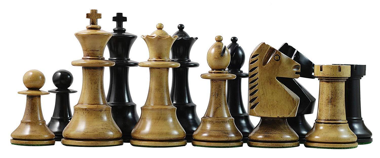 silverina 1978 Olympic Circa  Reproduction 3.75 Antique Antique Antique  Ebonised Chess Pieces 86058c