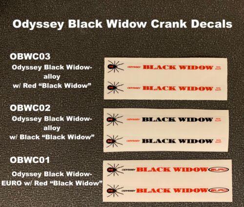 ODYSSEY BLACK WIDOW Crank Decals,1 pair Available Gen 1-2 variation, or Gen 2