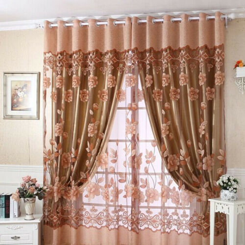 Panel Floral Sheer Voile Window Curtains Drape Room Door Divider Tulle Scarf UK
