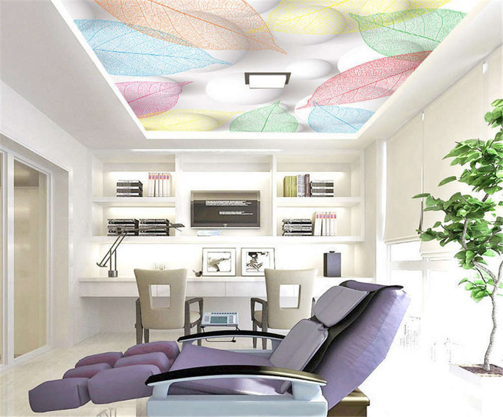 Natural Vivid Plume 3D Ceiling Mural Full Wall Photo Wallpaper Print Home Decor