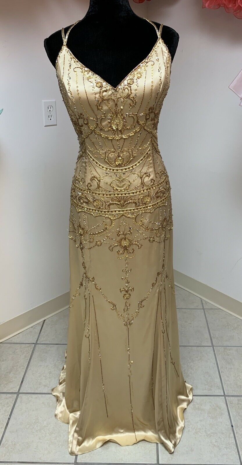 Tony Bowls 14 Gold Prom Homecoming Formal Pageant Evening Gown Dress