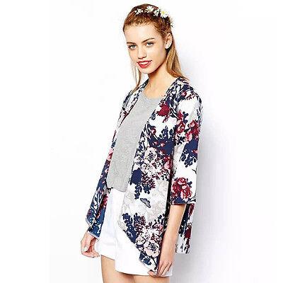 Fashion Women Printed Jacket Chiffon Kimono Cardigan Coat Tops Blouse Excellent