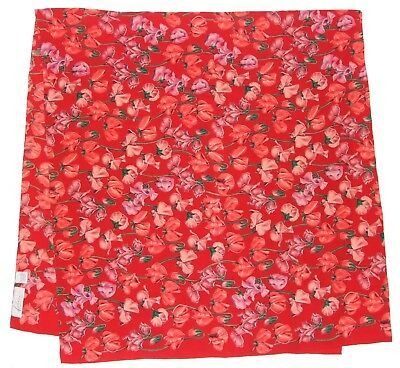 """Luxury FABRIC FRONTLINE Floral POPPY Red Green PINK Silk 50"""" Scarf Wrap Swiss"""