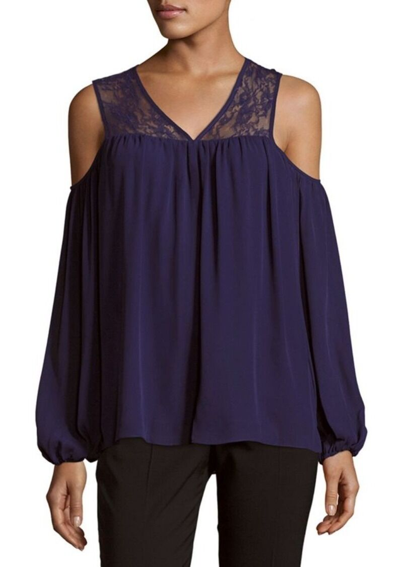 HOT Parker Joanie Mixed Media Cold Shoulder Lace Cutout Silk Blouse Top +