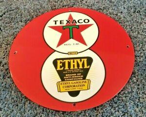 VINTAGE-034-TEXACO-ETHYL-8-BALL-EIGHT-034-11-3-4-034-METAL-GASOLINE-amp-OIL-SERVICE-SIGN