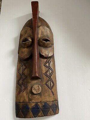VINTAGE TIKI MASK Carved Mask Large Restaurant Decor Wood Mask Wall Hanging 2 feet tall tribal smiling face wall hanging folk art mask