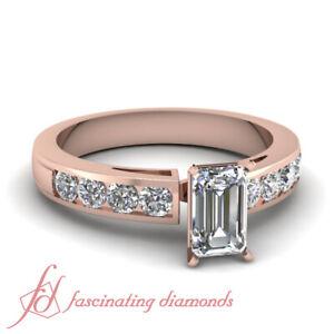 1 25 Carat Emerald Cut Diamond Rose Gold Engagement Rings Simple Channel Set Gia Ebay