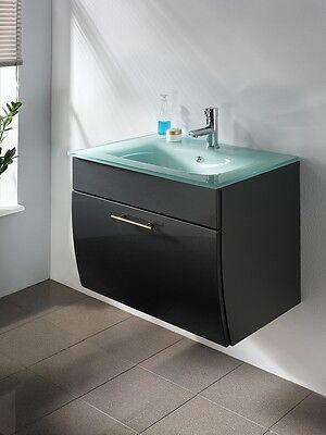 5620 Waschplatz inkl. Glasbecken Waschbecken Waschtisch Hochglanz Wenge Walnuss