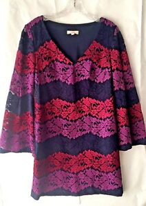 Trina-Turk-Women-s-Small-Bouquet-Floral-V-Neck-Tunic-Dress-Bell-Shift-Purple-EUC