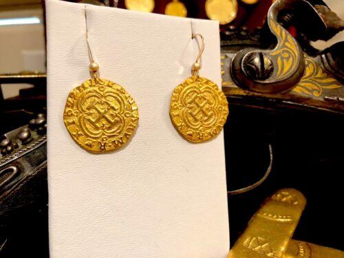 PURE GOLD SHIPWRECK TREASURE EARRINGS 1622 ATOCHA DOUBLOON COIN PIRATE JEWELRY