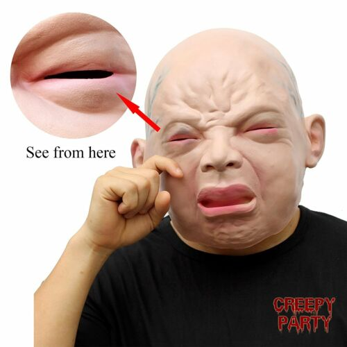 Creepy Cry Baby Full Head Face Latex Scary Mask Halloween Costume Latex Mask