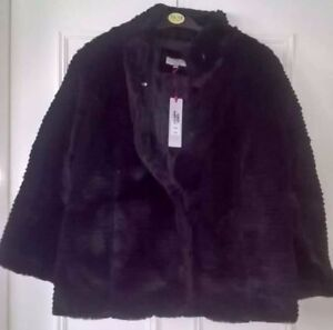 Per-Una-Faux-Fur-Jacket-Large-RRP-79-New-with-Tag-Black-M-amp-S-Pockets-Cosy
