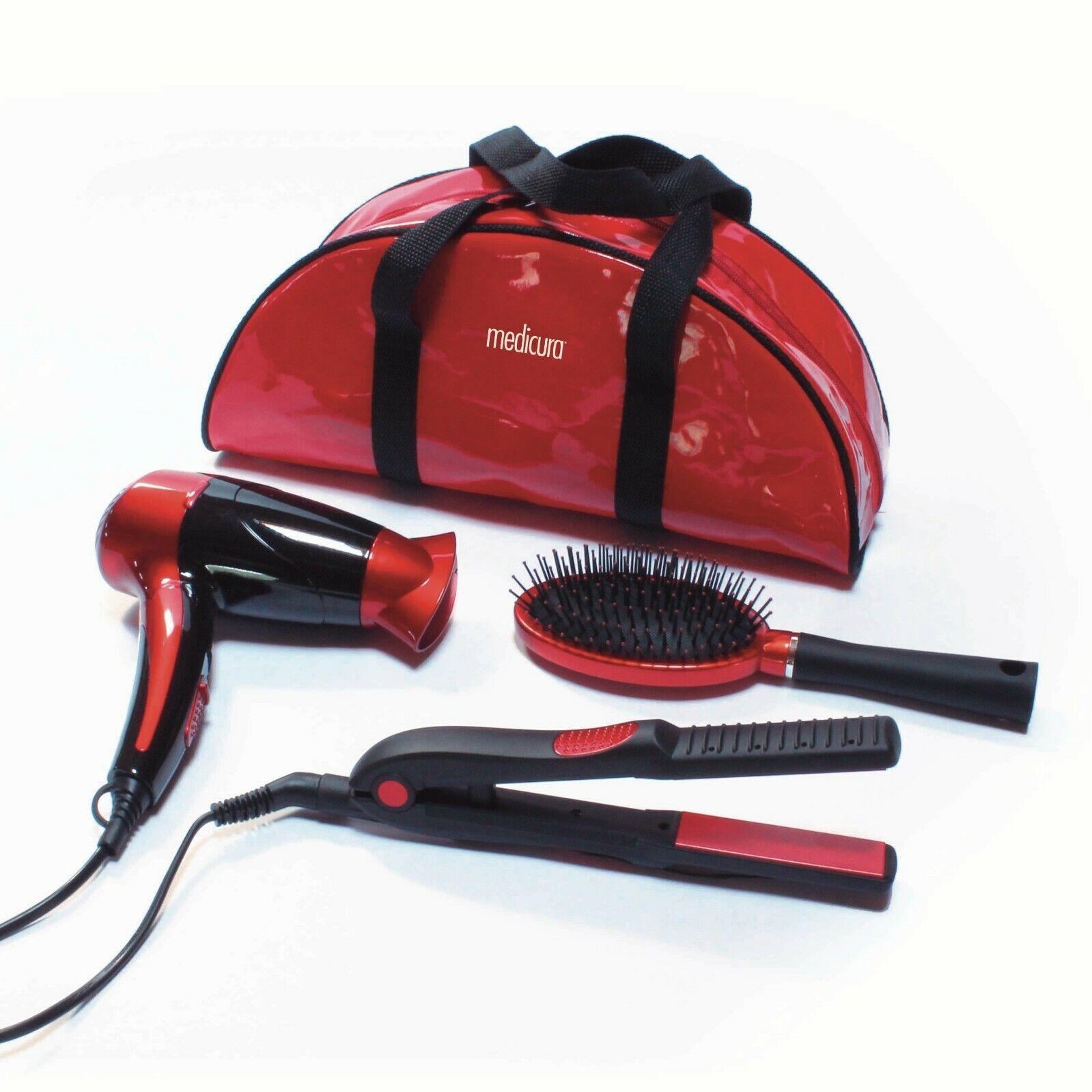 Set de belleza de cabello: secador plegable de viaje, plancha cerámica y...