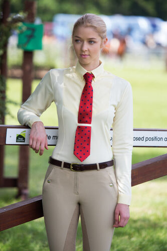 SALE Shires Ladies Long Sleeve Competition Show Tie Shirt AIR DRI Wicking Fabric