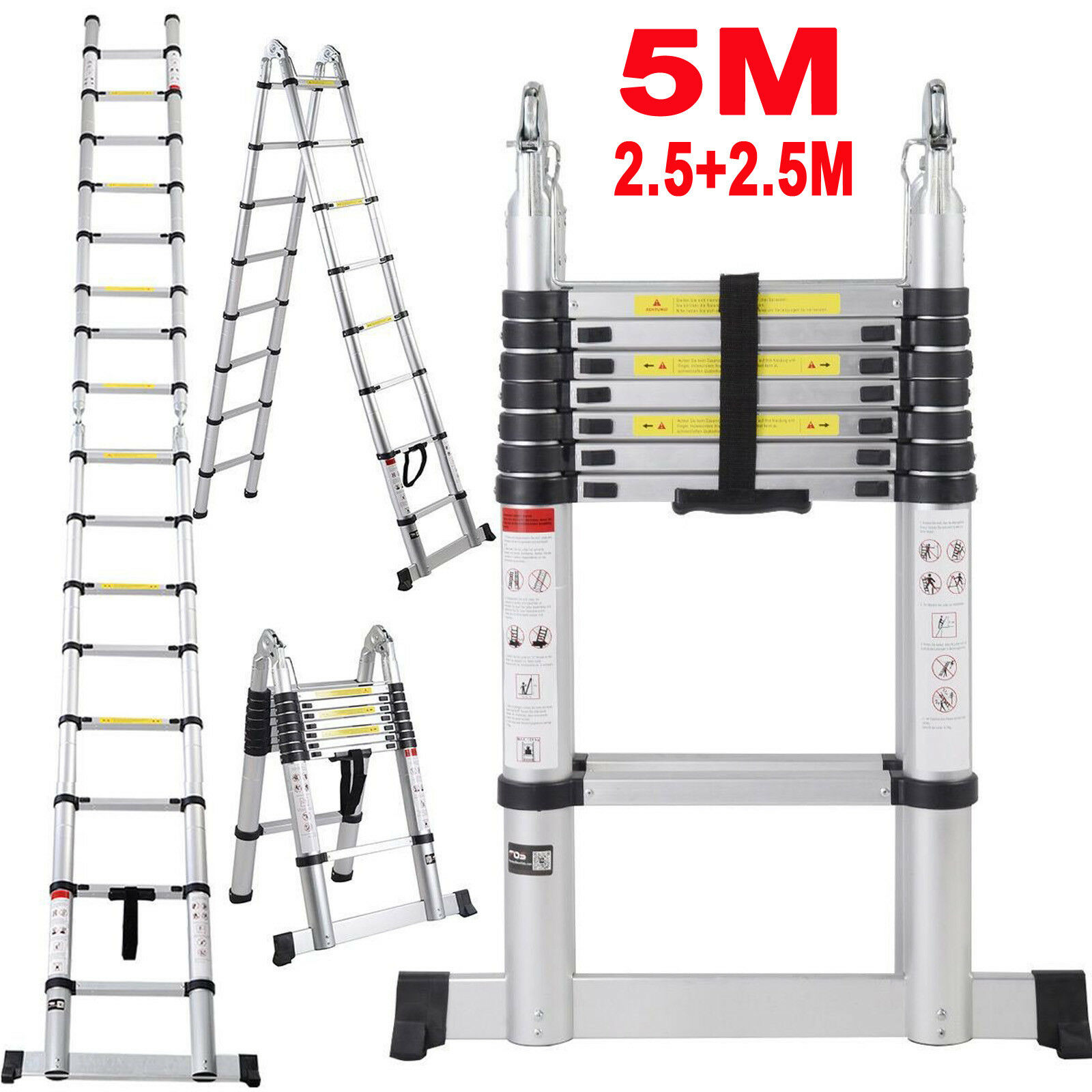 16.4ft 5M (2.5+2.5M) Folding Telescopic Ladder Foldable and Extenable A-Shape