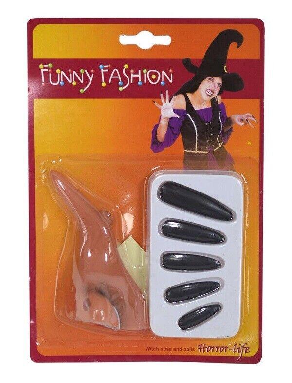 Set Strega Halloween Accessori Naso & Unghie Funny Fashion Art.74656