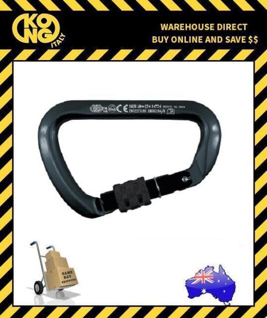 Kong ALL BLACK - Carbon Steel 411 EXTRA LARGE D Screw Gate Karabiner
