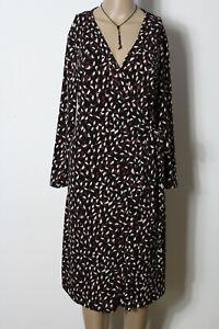 MANGO-Kleid-Gr-L-schwarz-braun-beige-Langarm-knielang-Muster-Wickel-Kleid