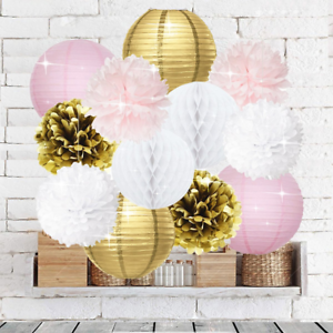 Pink-Gold-Party-Decorations-Furuix-12pcs-Tissue-Paper-Pom-Pom-Honeycomb-Ball-and