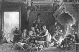 France-PYRENEES-MOUNTAINS-VILLAGE-INN-HOTEL-FIREPLACE-1865-Art-Print-Engraving