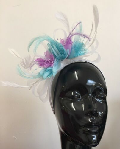 BESPOKE White Light Turquoise Aqua Lilac Purple Fascinator Headband Wedding Race
