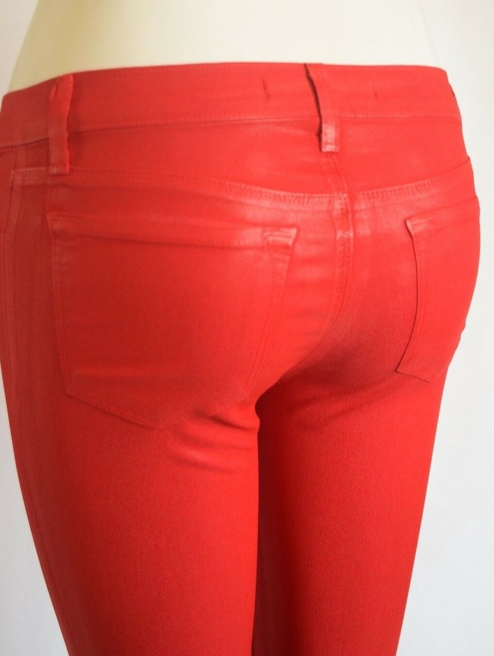 NEW J BRAND 815 SUPER SKINNY Low Rise Jeans Woman 29 in COATED JADE RED D3