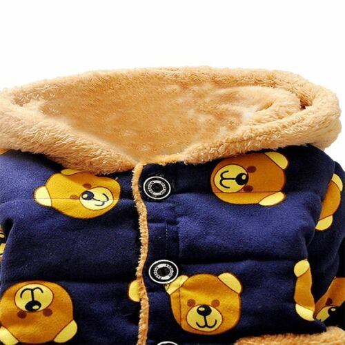 Baby Boy Winter Jacket Thick Fleece Lined Hooded Warm Coat 100/% Cotton