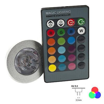 Faretto Led Rgb Cromoterapia Lampada Gu5.3 12v 16 Colori Di Luce Rgb Led Light