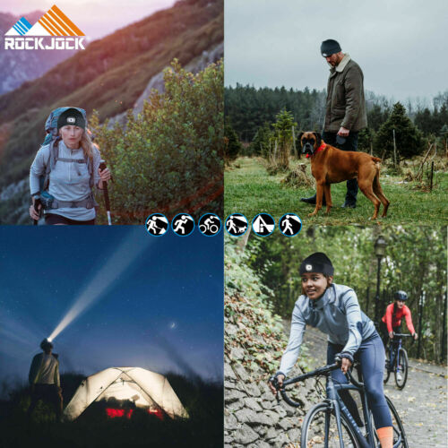 ROCK JOCK LED Camping Cycling Rechargeable USB Head Torch Light Warm Beanie Hat
