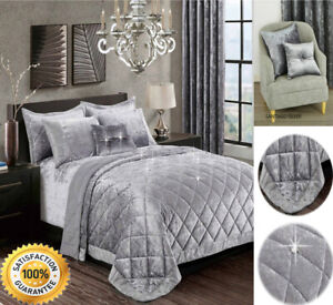 3 Piece Quilted Bedspread Set Velvet Bed Throw With Pillow Shams Double and King