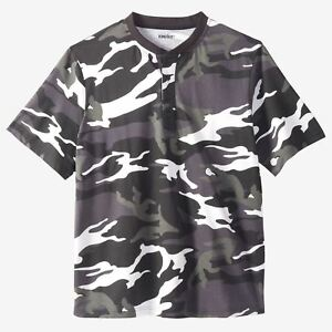 f53dcb15a8c87 KING SIZE SHORT SLEEVE SHRINK-LESS LIGHTWEIGHT CAMO HENLEY TEE MENS ...