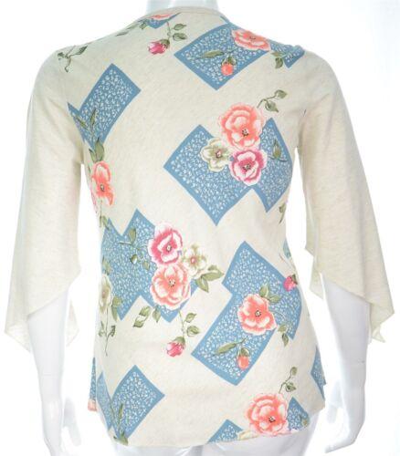 Womens 14-26 V Neck Linen Blend Blue Pink Coral Green Floral Print Beige Top
