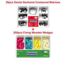50pcs Dental Sectional Contoured Matrices Matrix 200pcs Fixing Wooden Wedges