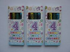1-240 Packs 4 Mini Colouring Wax Crayons Kids Party Bags Fillers Toys Lucky Dip